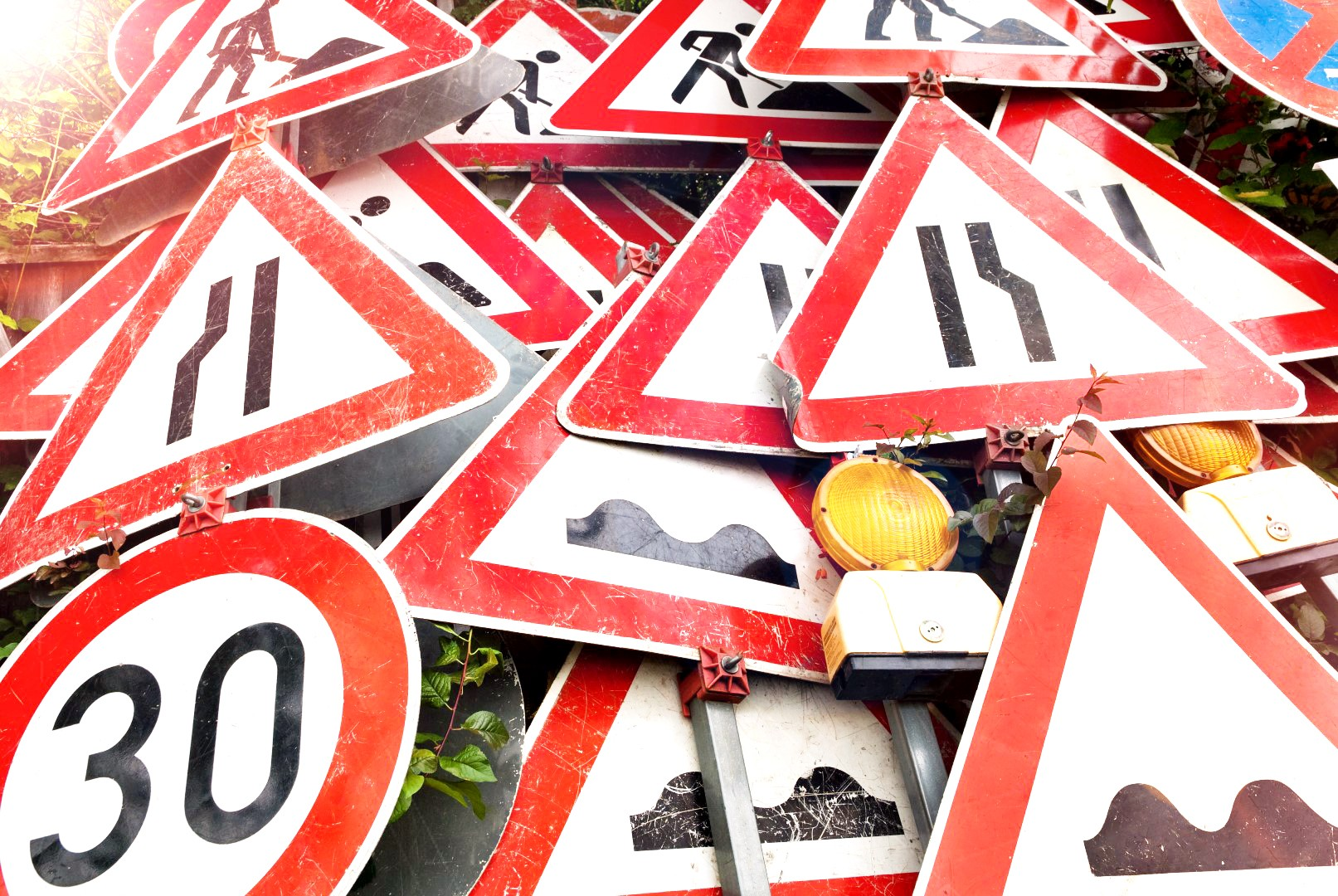 Pile of traffic signs