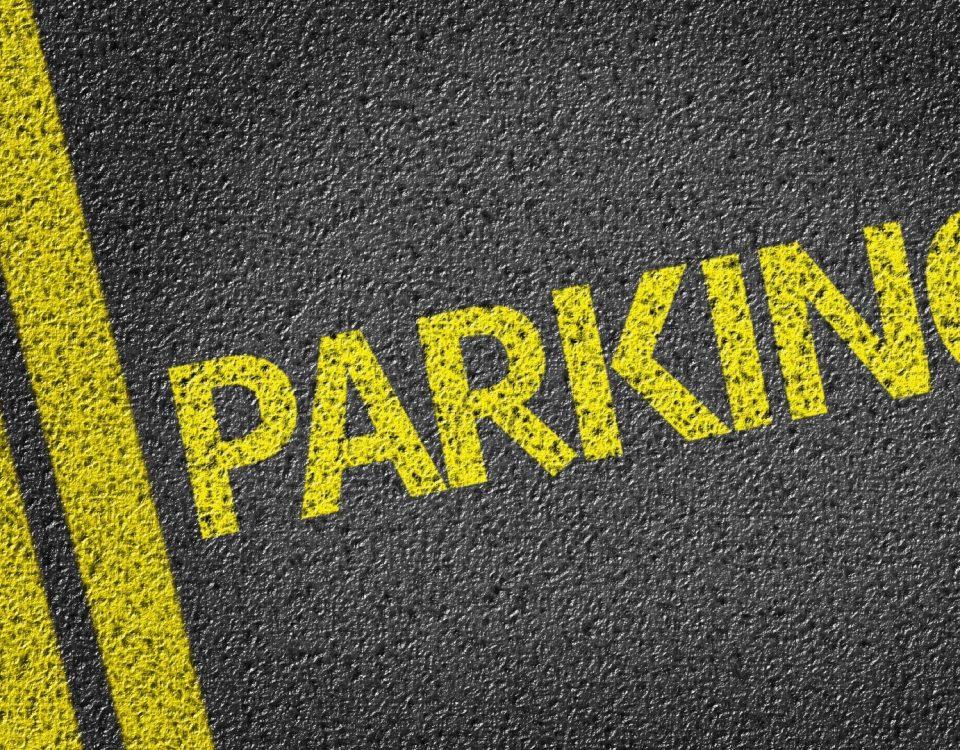Parking written on the road
